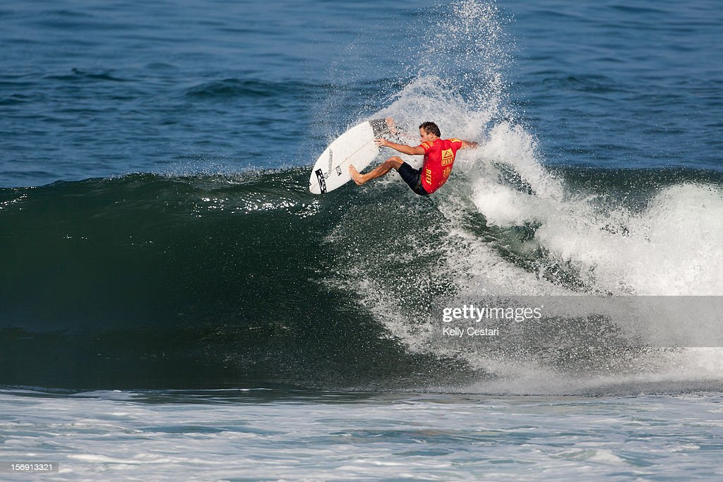 Tom Whitaker of Australia placed equal 7th in the REEF Hawaiian Pro at Ali'i Beach Park on November 24, 2012 in Haleiwa, Hawaii.