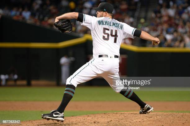 Tom Wilhelmsen of the Arizona Diamondbacks delivers a pitch in the sixth inning against the Cleveland Indians at Chase Field on April 7 2017 in...