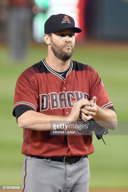 Tom Wilhelmsen of the Arizona Diamondbacks pitches during a baseball game against the Washington Nationals at Nationals Park on May 3 2017 in...
