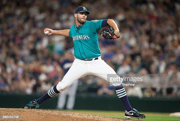Tom Wilhelmsen of the Seattle Mariners delivers a pitch during a game against the Milwaukee Brewers at Safeco Field on August 19 2016 in Seattle...