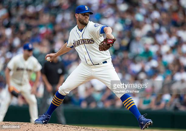 Tom Wilhelmsen of the Seattle Mariners delivers a pitch during a game against the Milwaukee Brewers at Safeco Field on August 21 2016 in Seattle...