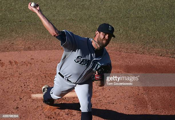 Tom Wilhelmsen of the Seattle Mariners delivers a pitch in the first inning during MLB game action against the Toronto Blue Jays on September 25 2014...