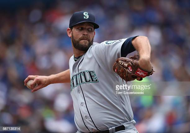 Tom Wilhelmsen of the Seattle Mariners delivers a pitch in the seventh inning during MLB game action against the Toronto Blue Jays on July 24 2016 at...