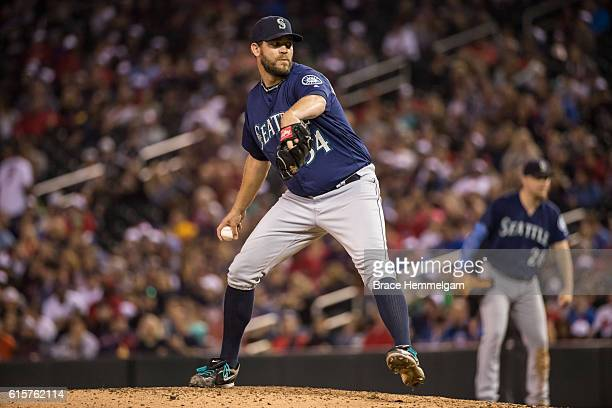 Tom Wilhelmsen of the Seattle Mariners pitches against the Minnesota Twins on September 24 2016 at Target Field in Minneapolis Minnesota The Twins...