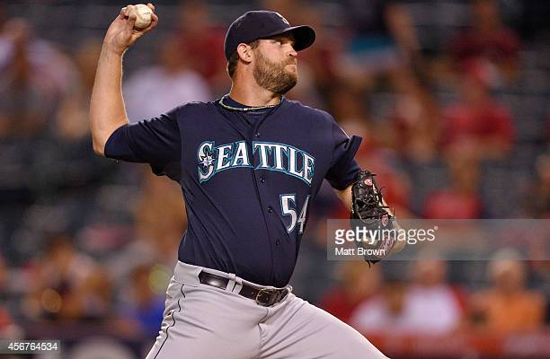 Tom Wilhelmsen of the Seattle Mariners pitches during the game against the Los Angeles Angels of Anaheim on September 16 2014 at Angel Stadium of...