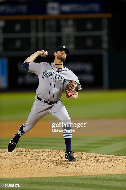Tom Wilhelmsen of the Seattle Mariners pitches during the game against the Oakland Athletics at Oco Coliseum on April 10 2015 in Oakland California...