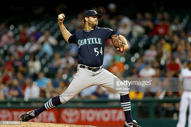 Tom Wilhelmsen of the Seattle Mariners pitches during the game against the Cleveland Indians at Progressive Field on June 9 2015 in Cleveland Ohio...