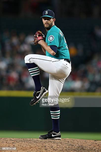 Tom Wilhelmsen of the Seattle Mariners pitches during the game against the Houston Astros at Safeco Field on July 15 2016 in Seattle Washington The...