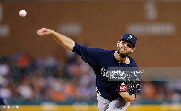 Tom Wilhelmsen of the Seattle Mariners pitches in the seventh inning of the game against the Detroit Tigers on July 21 2015 at Comerica Park in...