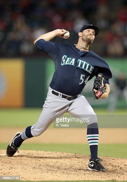 Tom Wilhelmsen of the Seattle Mariners throws in the ninth inning against the Texas Rangers at Global Life Park in Arlington on September 18 2015 in...