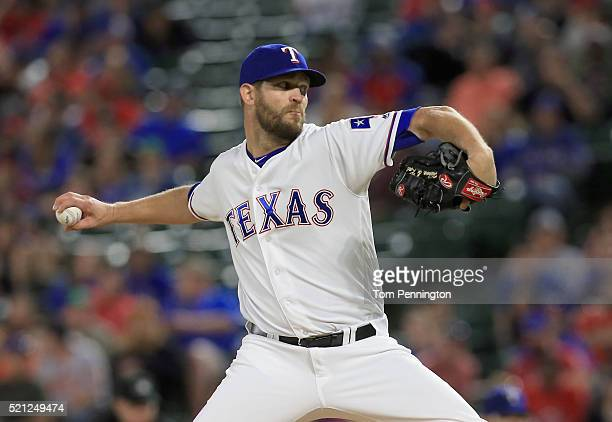 Tom Wilhelmsen of the Texas Rangers pitches against the Baltimore Orioles in the top of the sixth inning at Globe Life Park in Arlington on April 14...