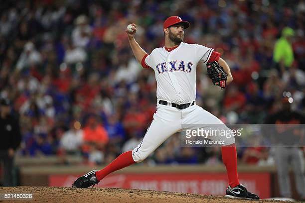 Tom Wilhelmsen of the Texas Rangers throws against the Baltimore Orioles in the seventh inning at Globe Life Park in Arlington on April 15 2016 in...