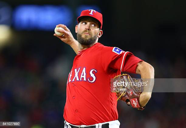 Tom Wilhelmsen of the Texas Rangers throws in the seventh inning against the Houston Astros at Globe Life Park in Arlington on June 8 2016 in...