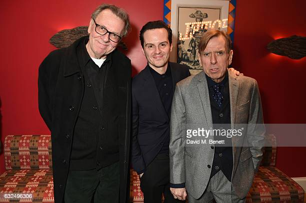 Tom Wilkinson Andrew Scott and Timothy Spall attend a gala screening of 'Denial' at The Ham Yard Hotel on January 23 2017 in London England
