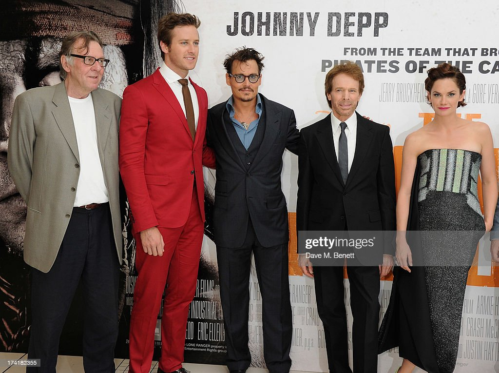 Tom Wilkinson, Armie Hammer, Johnny Depp, Jerry Bruckheimer and Ruth Wilson attend the UK Premiere of 'The Lone Ranger' at Odeon Leicester Square on July 21, 2013 in London, England.