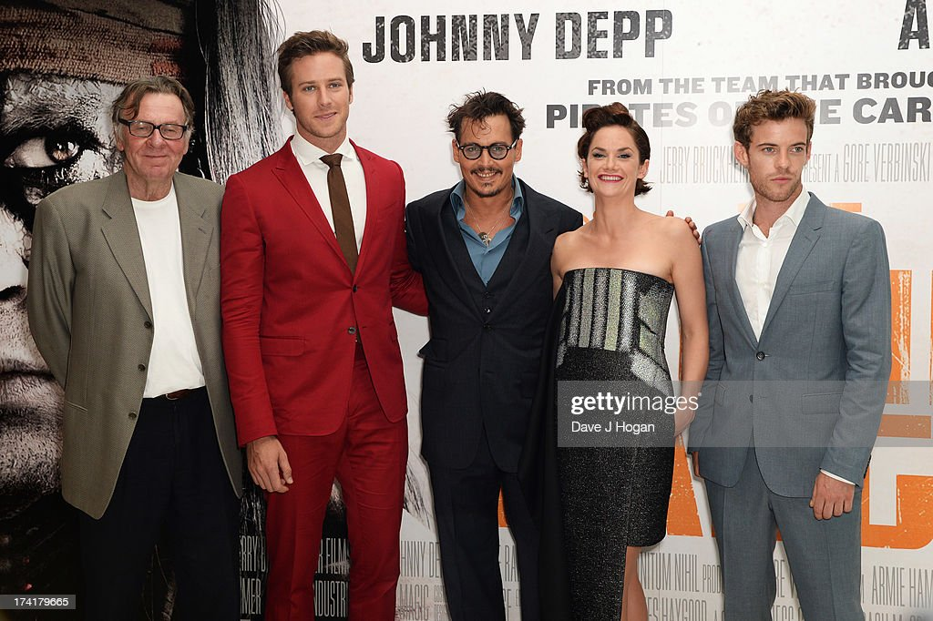 Tom Wilkinson, Armie Hammer, Johnny Depp, Ruth Wilson and Harry Threadaway attend the UK premiere of 'The Lone Ranger' at The Odeon Leicester Square on July 21, 2013 in London, England.