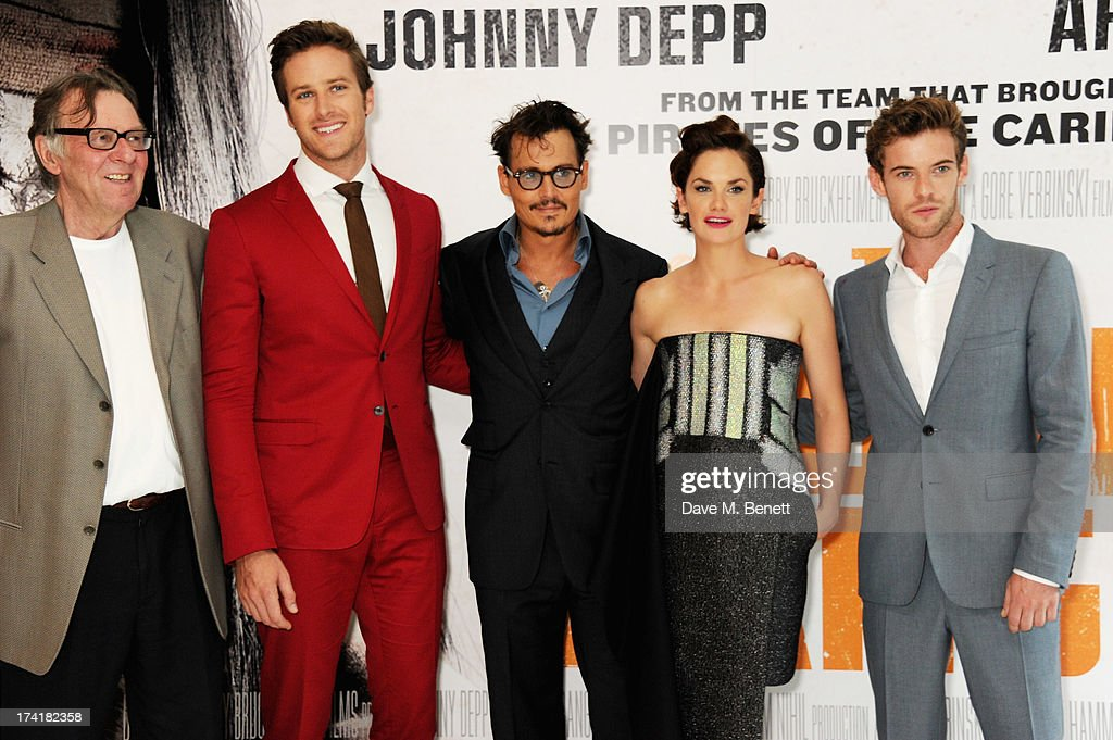 Tom Wilkinson, Armie Hammer, Johnny Depp, Ruth Wilson and Harry Treadaway attend the UK Premiere of 'The Lone Ranger' at Odeon Leicester Square on July 21, 2013 in London, England.