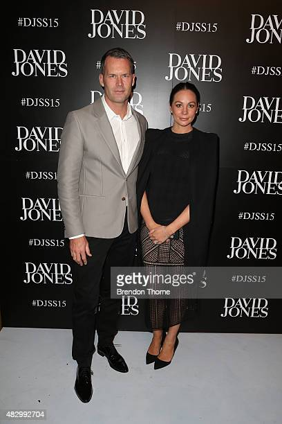Tom Williams and Rachel Gilbert arrive ahead of the David Jones Spring/Summer 2015 Fashion Launch at David Jones Elizabeth Street Store on August 5...