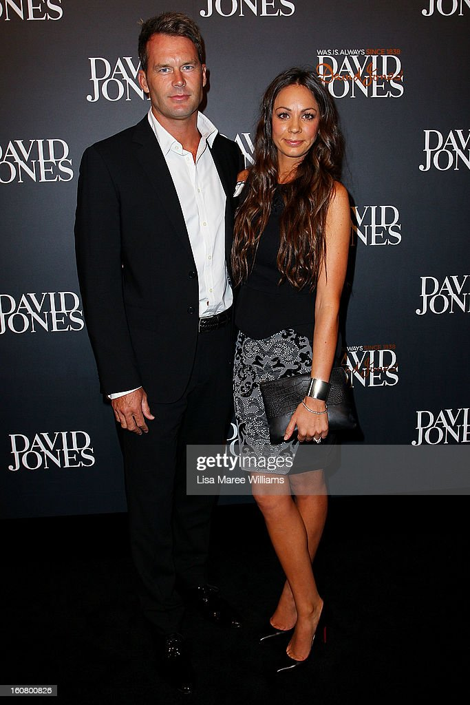 Tom Williams and Rachel Gilbert arrive at the David Jones A/W 2013 Season Launch at David Jones Castlereagh Street on February 6, 2013 in Sydney, Australia.