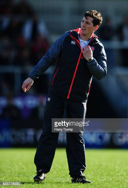 Tom Williams Coach of England U20s looks on during the U20 Six Nations match between England U20 and France U20 at Sandy Park on February 4 2017 in...