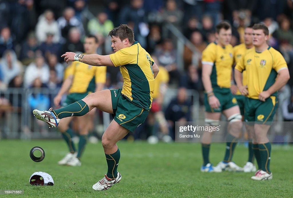 Tom Wilson of Australia kicks a penalty during the Test between New Zealand Schools and Australia Schools at Auckland Grammar on October 6, 2012 in Auckland, New Zealand.