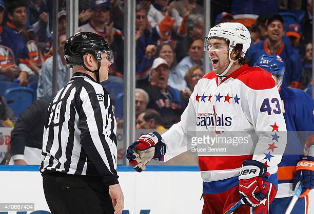 Tom Wilson of the Washington Capitals arges a call during the game against the New York Islanders in Game Four of the Eastern Conference...
