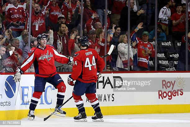 Tom Wilson of the Washington Capitals celebrates a goal against the Columbus Blue Jackets during the third period at Verizon Center on March 28 2016...