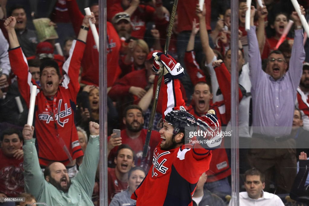 Tom Wilson #43 of the Washington Capitals celebrates after scoring the game-winning goal against the Toronto Maple Leafs in overtime in Game One of the Eastern Conference First Round during the 2017 NHL Stanley Cup Playoffs at Verizon Center on April 13, 2017 in Washington, DC. The Washington Capitals won, 3-2, in overtime.