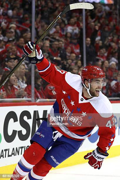 Tom Wilson of the Washington Capitals celebrates his goal against the Chicago Blackhawks during the second period at Verizon Center on January 13...