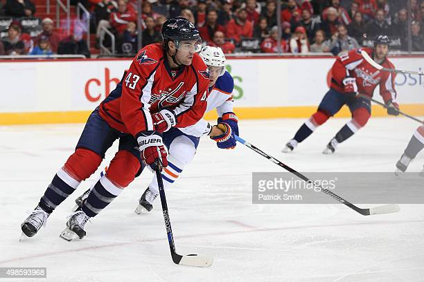 Tom Wilson of the Washington Capitals in action against the Edmonton Oilers at Verizon Center on November 23 2015 in Washington DC