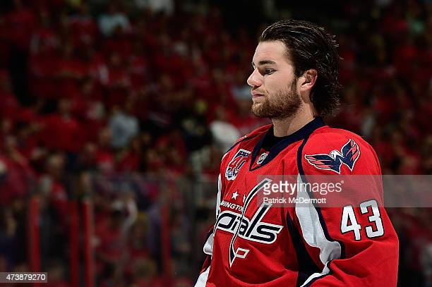Tom Wilson of the Washington Capitals in action against the New York Rangers during the third period in Game Four of the Eastern Conference...