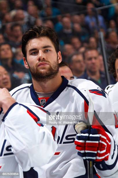Tom Wilson of the Washington Capitals looks on during the game against the San Jose Sharks at SAP Center on March 9 2017 in San Jose California