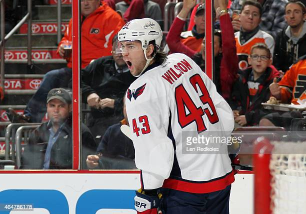 Tom Wilson of the Washington Capitals reacts following his second period goal against the Philadelphia Flyers on February 22 2015 at the Wells Fargo...