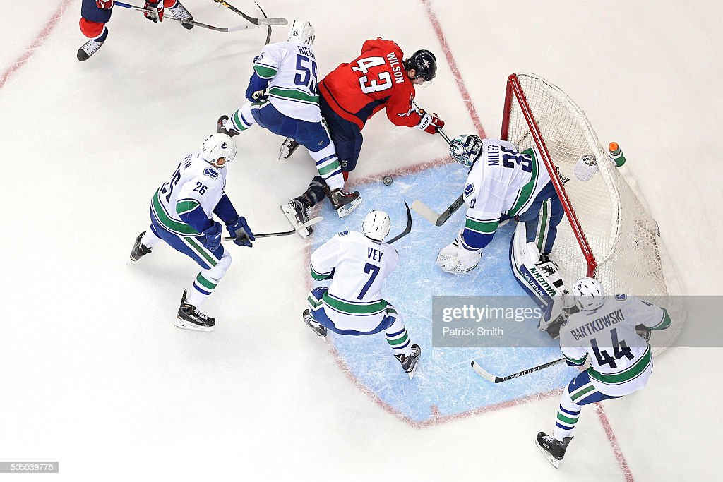 Tom Wilson of the Washington Capitals shoots on goalie Ryan Miller of the Vancouver Canucks in the second period at Verizon Center on January 14 2016...