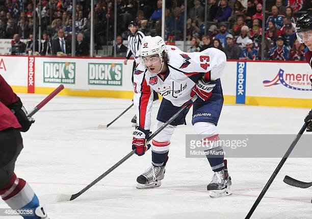 Tom Wilson of the Washington Capitals skates against the Colorado Avalanche at the Pepsi Center on November 20 2014 in Denver Colorado The Capitals...
