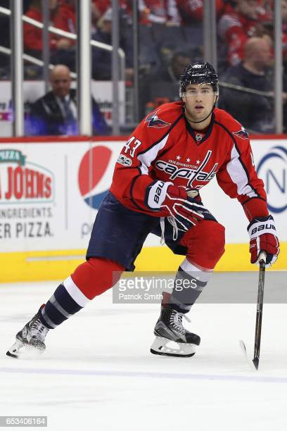 Tom Wilson of the Washington Capitals skates against the Minnesota Wild during the second period at Verizon Center on March 14 2017 in Washington DC