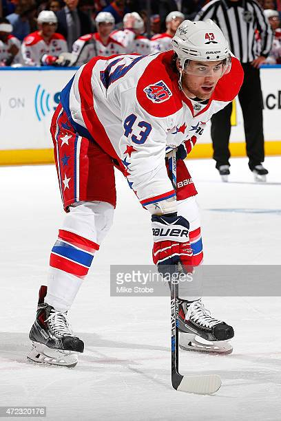 Tom Wilson of the Washington Capitals skates against the New York Islanders during Game Three of the Eastern Conference Quarterfinals during the 2015...