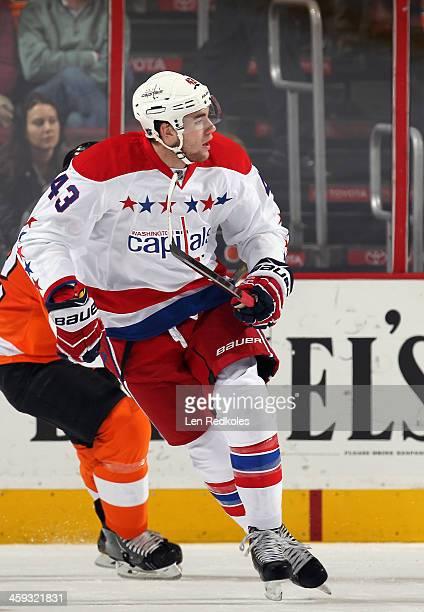 Tom Wilson of the Washington Capitals skates against the Philadelphia Flyers on December 17 2013 at the Wells Fargo Center in Philadelphia...