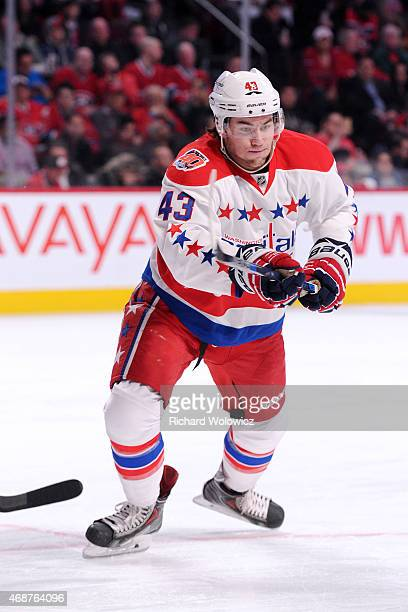 Tom Wilson of the Washington Capitals skates during the NHL game against the Montreal Canadiens at the Bell Centre on April 2 2015 in Montreal Quebec...