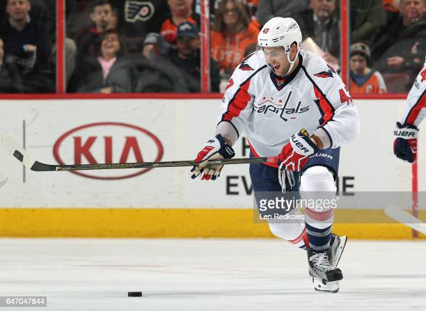 Tom Wilson of the Washington Capitals skates the puck against the Philadelphia Flyers on February 22 2017 at the Wells Fargo Center in Philadelphia...