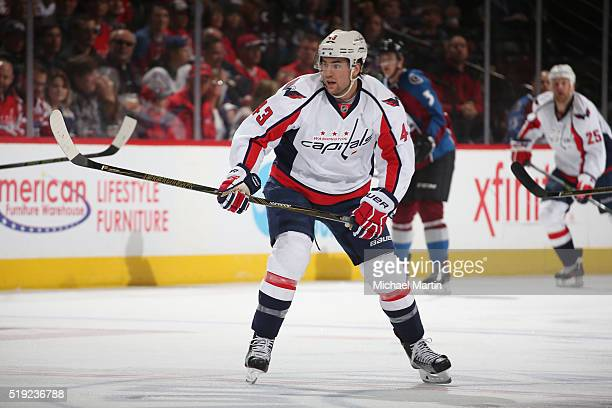 Tom Wilson of the Washington Captitals skates againast the Colorado Avalanche at the Pepsi Center on April 01 2016 in Denver Colorado The Capitals...