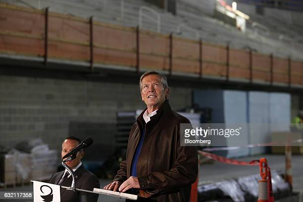 Tom Wilson president and chief executive officer of Olympia Entertainment Inc pauses during a press conference at the Little Caesars Arena in Detroit...