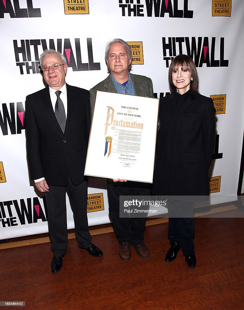 Tom Wirtshafter, Scott Morfee and Jean Doumanian attend the 'Hit The Wall' Off Broadway opening night at the Barrow Street Theatre on March 10, 2013 in New York City.