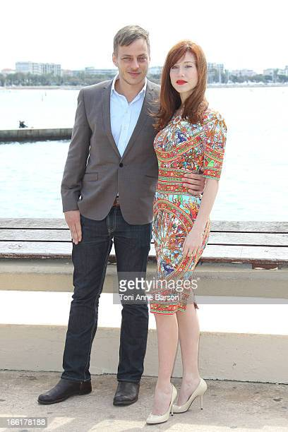 Tom Wlaschiha and Gabriella Pession attend 'Crossing Lines' Photocall during MIPTV 2013 on April 9 2013 in Cannes France