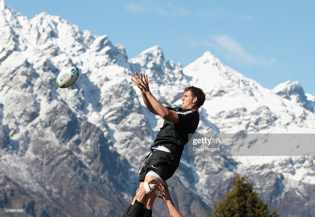 Tom Wood catches the ball during an England IRB Rugby World Cup 2011 training session at Queenstown Events Centre on September 15 2011 in Queenstown...