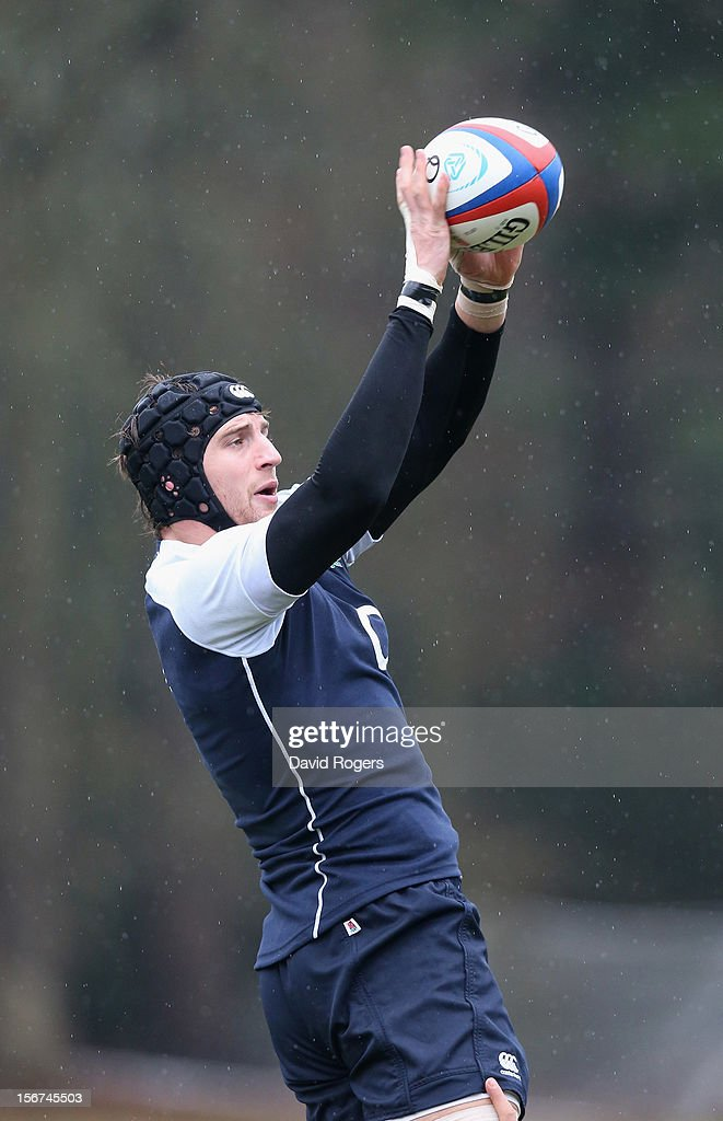 Tom Wood catches the ball during the England training session held at Pennyhill Park on November 20, 2012 in Bagshot, England.