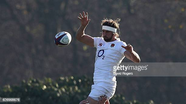 Tom Wood catches the ball during the England training session held at Pennyhill Park on December 1 2016 in Bagshot England