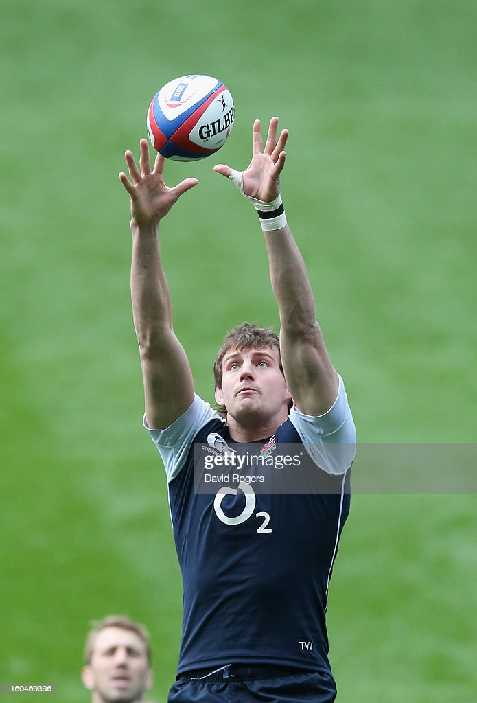 Tom Wood catches the lineout ball during the England captain's run at Twickenham Stadium on February 1, 2013 in London, England.