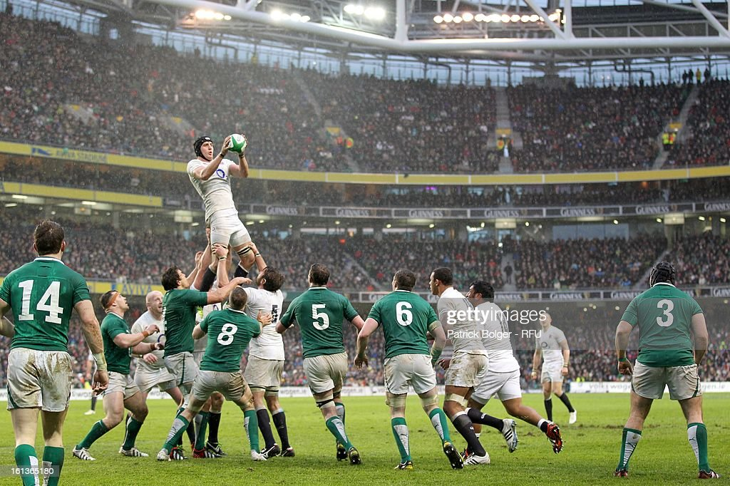 Tom Wood in action during the RBS Six Nations match between Ireland and England at Aviva Stadium on February 10, 2013 in Dublin, Ireland.