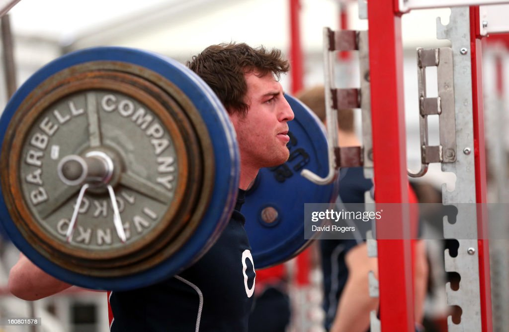 Tom Wood lifts weights during the England gym session held at Pennyhill Park on February 6, 2013 in Bagshot, England.